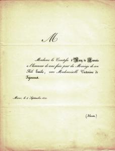 1850 Victorine de Séjouret et Emile d'Auxy de Launois (comte) (faire-part de maraige) c Eric de Séjournet0.jpg