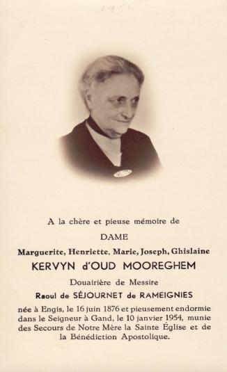 19540110 marguerite kervyn d'oud mooreghem épouse de raoul de séjournet de rameignies faire-part de décès recto coll. eric de séjournet