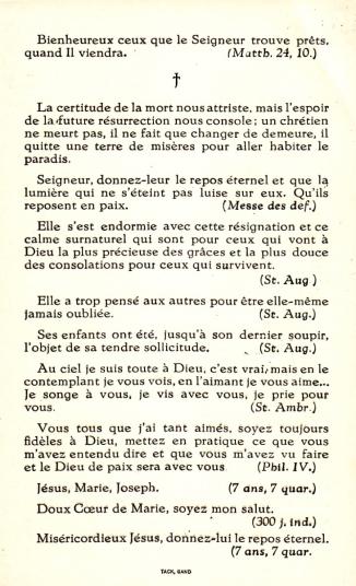 19540110 marguerite kervyn d'oud mooreghem épouse de raoul de séjournet de rameignies faire-part de décès verso coll. eric de séjournet