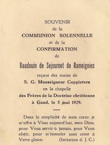 19290505 Baudouin de Séjournet de Rameignies Faire-part de Communion solonelle et de Confirmation  coll. Mme Philippe-Edgar Detry 3 copie.jpg
