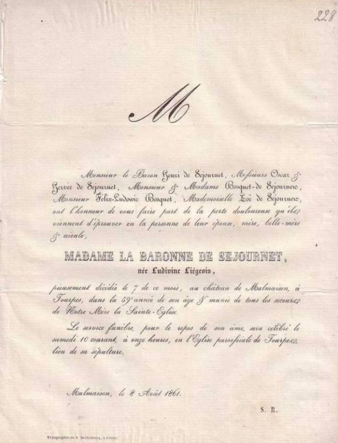 1861 - Faire-part décès de Ludivine Liégeois (1802- 7 août 1861)
