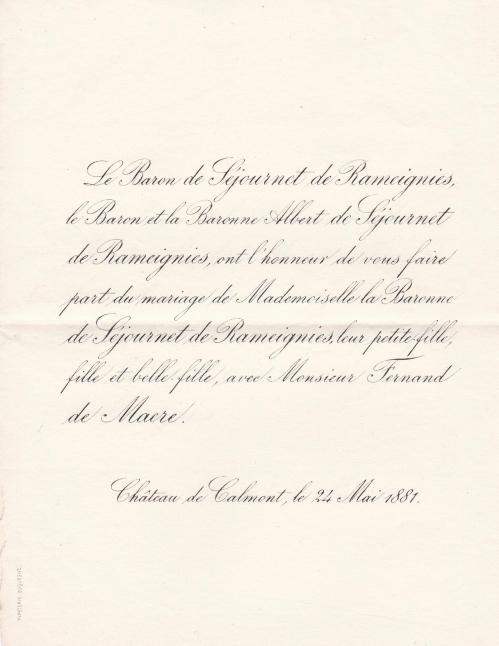 18810524 Faire part mariage Marguerite de Séjournet