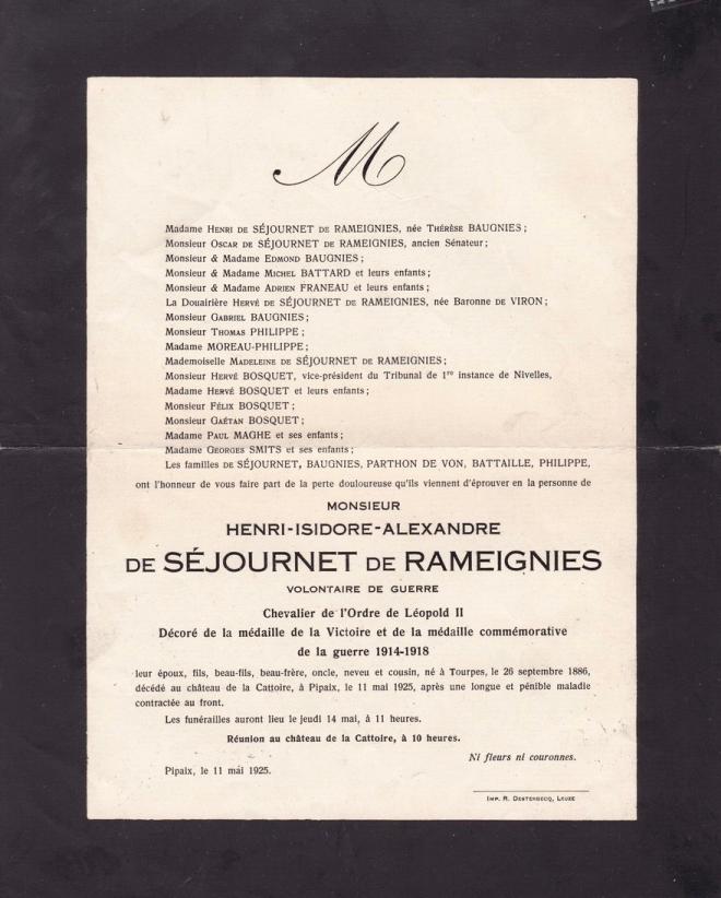 19250511 henri-isidore de séjournet faire-part de décès pipaix