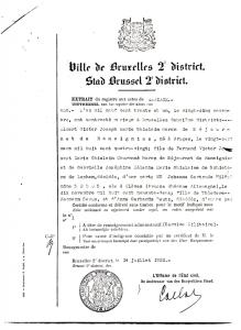 1931 Albert dSdR Extrait du registre aux actes du mariage de la Ville de Bruxelles 2e district (réponse du 14 juillet 1932).jpeg
